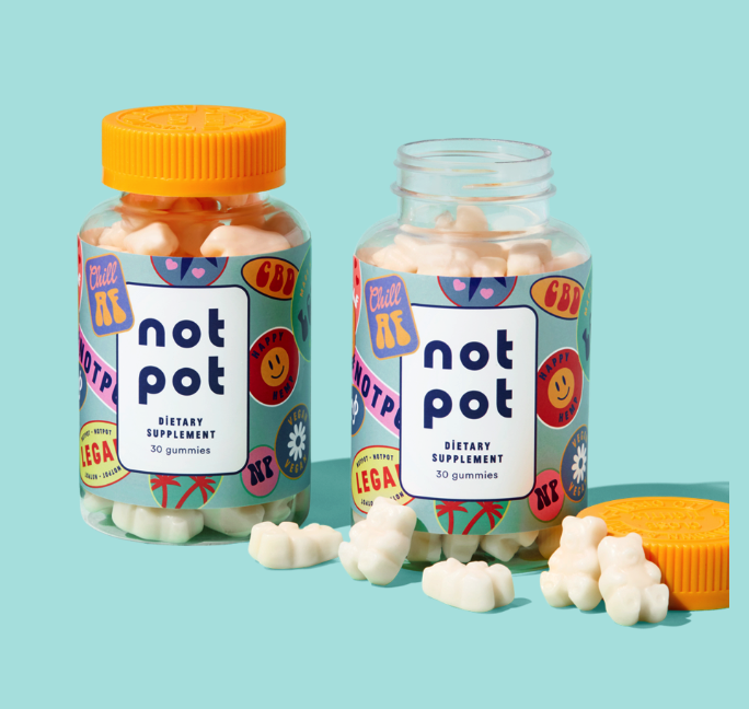 Vegan CBD gummy product packaging that is fun and light