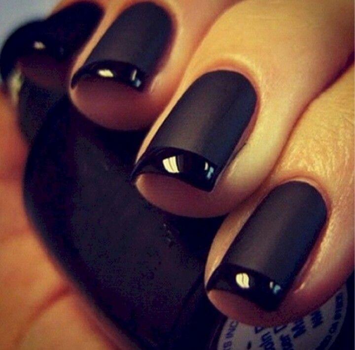 Uñas negras mate y brillante | Nails | Pinterest | Nice makeup and ...