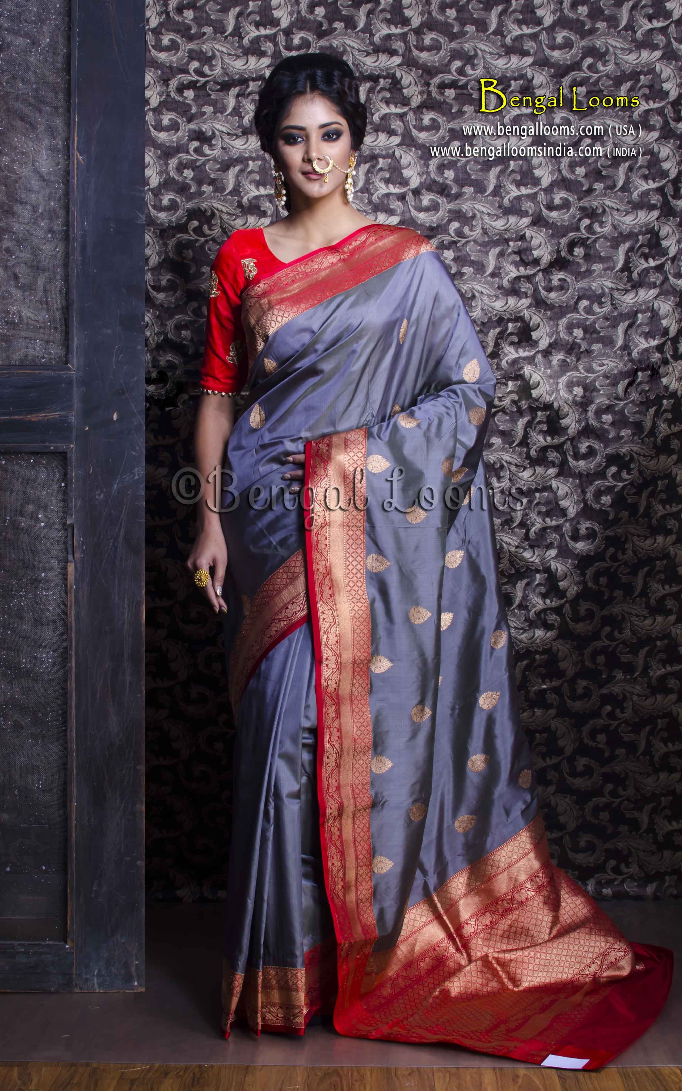 510f05db47505f Pure Handloom Katan Silk Banarasi Saree in Gray and Red