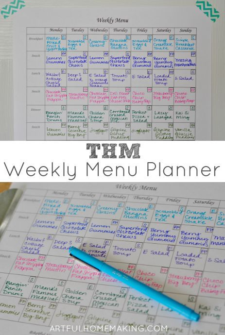 A Trim Healthy Mama Menu Plan {+ Free Printable Menu Planner Sheet