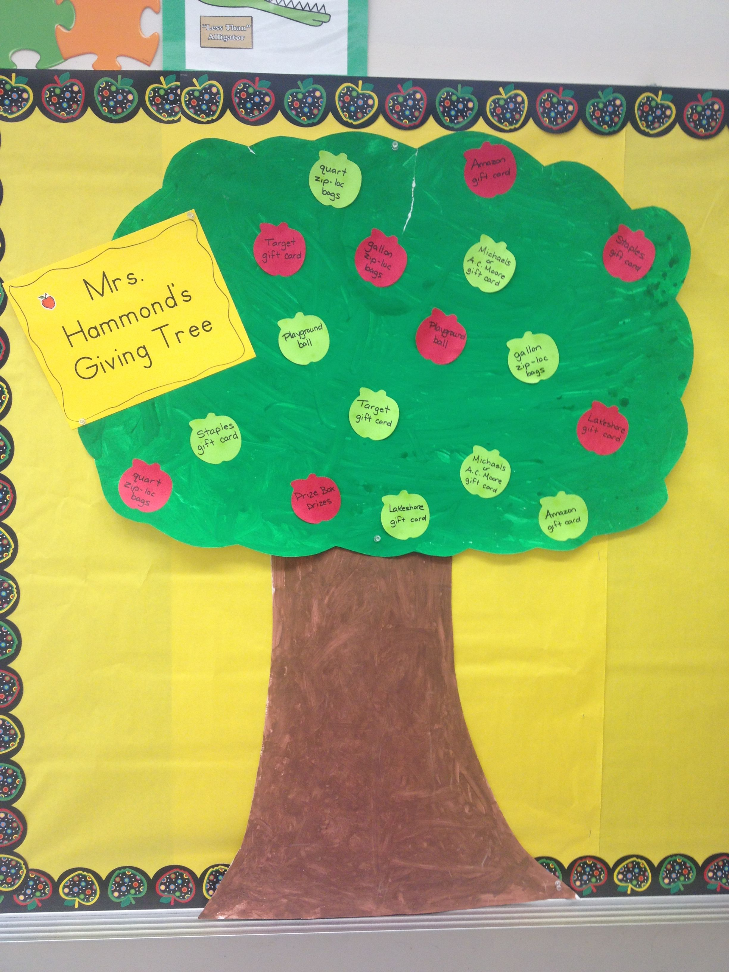 My Back To School Night Giving Tree For Classroom