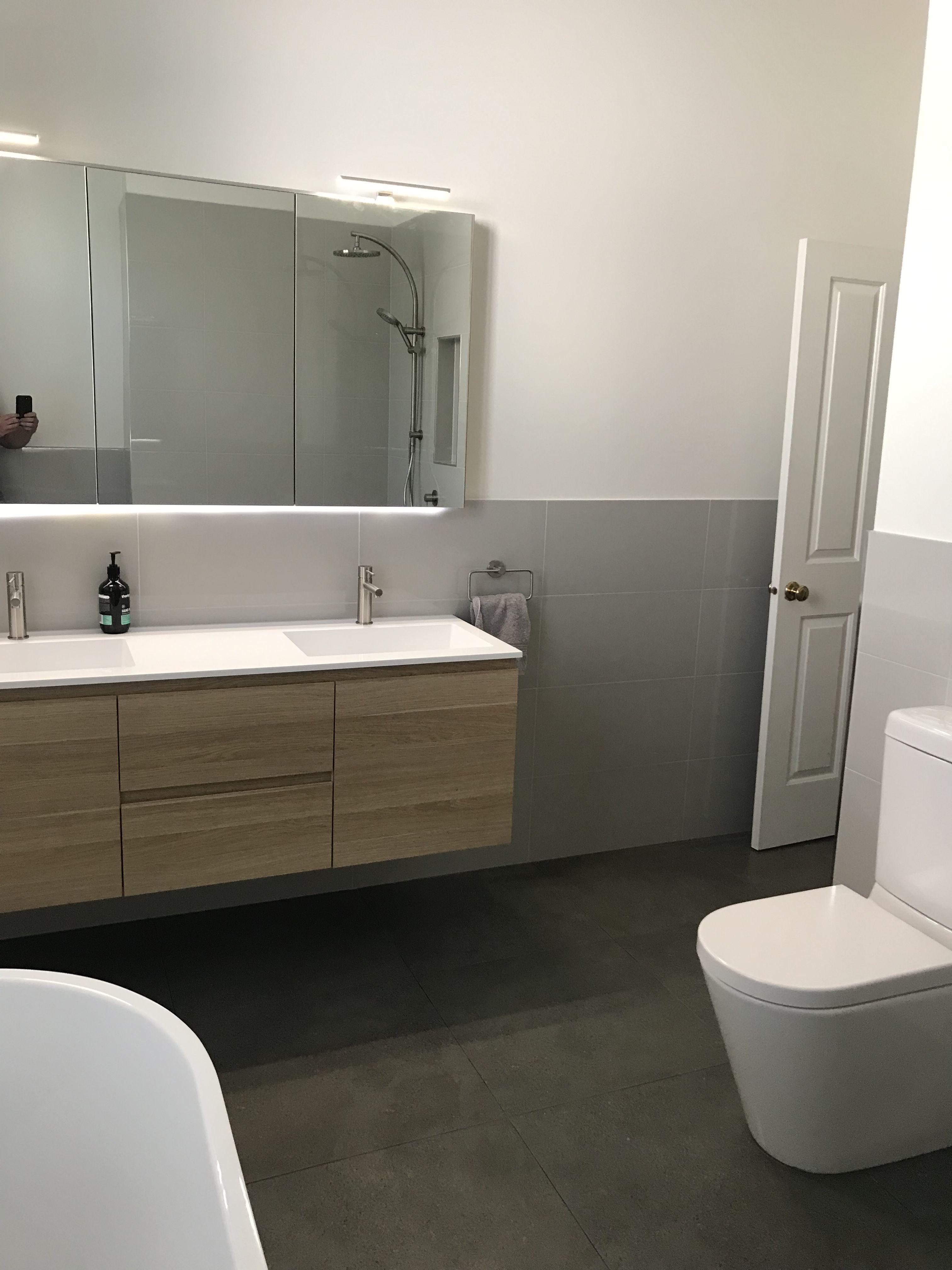 double basin vanity and led medacine cabinet at our seddon on bathroom renovation ideas melbourne id=38263