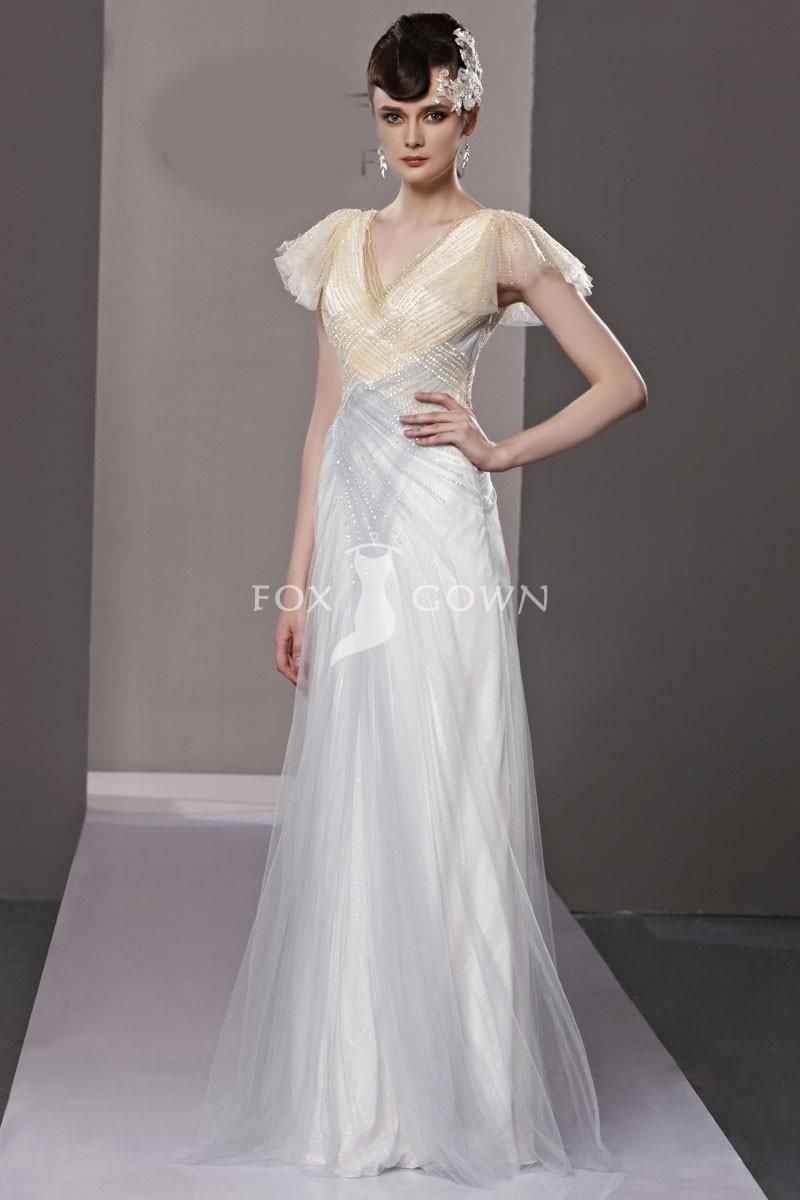 Shining white tulle sheath evening dress with soft cap sleeve and v
