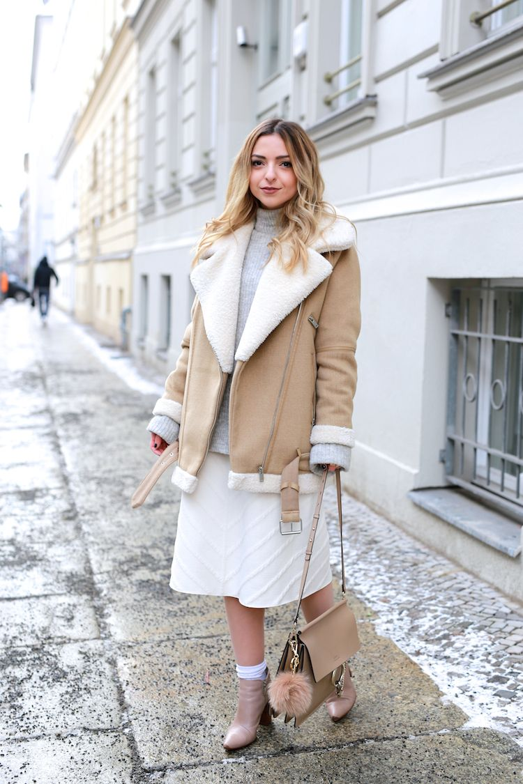Winter Outfit: Zara Shearling Jacket and White Midi Skirt