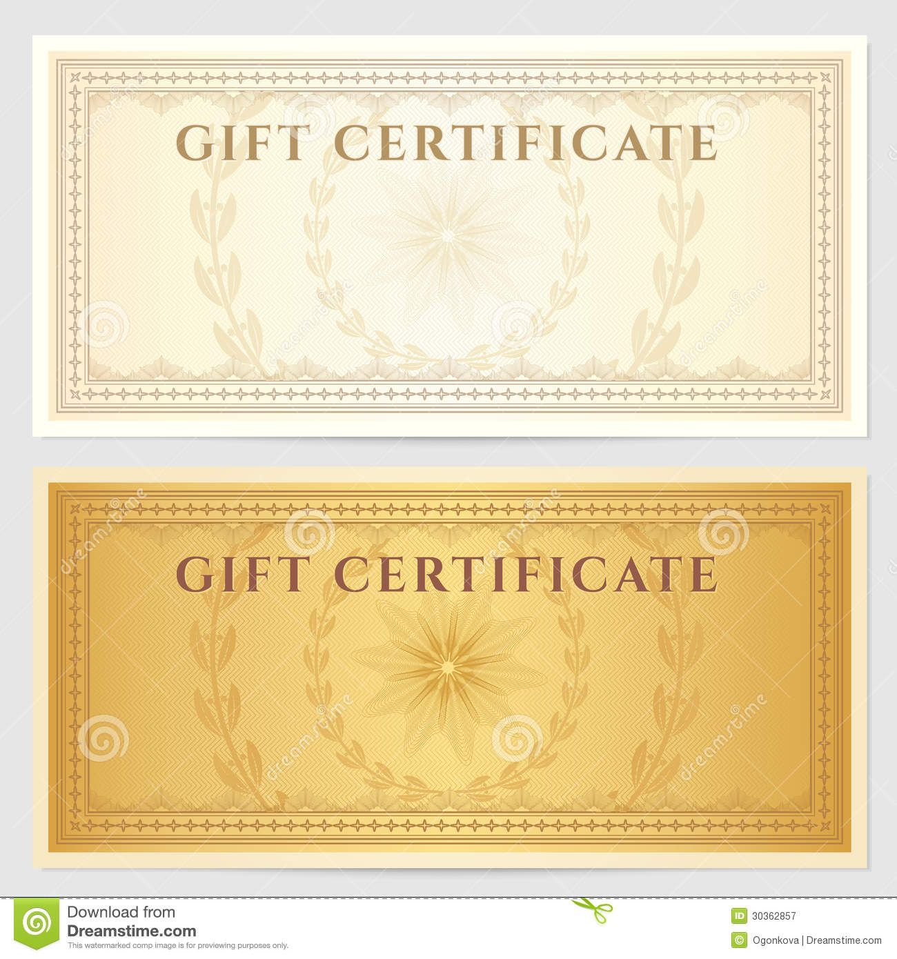 Certificate Voucher Coupon Banknote Diploma Currency Check Etc