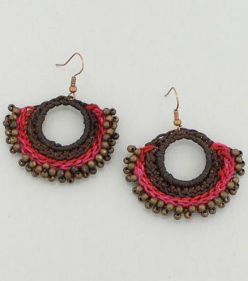 Handmade Round Woven Copper Beaded Drop Earrings