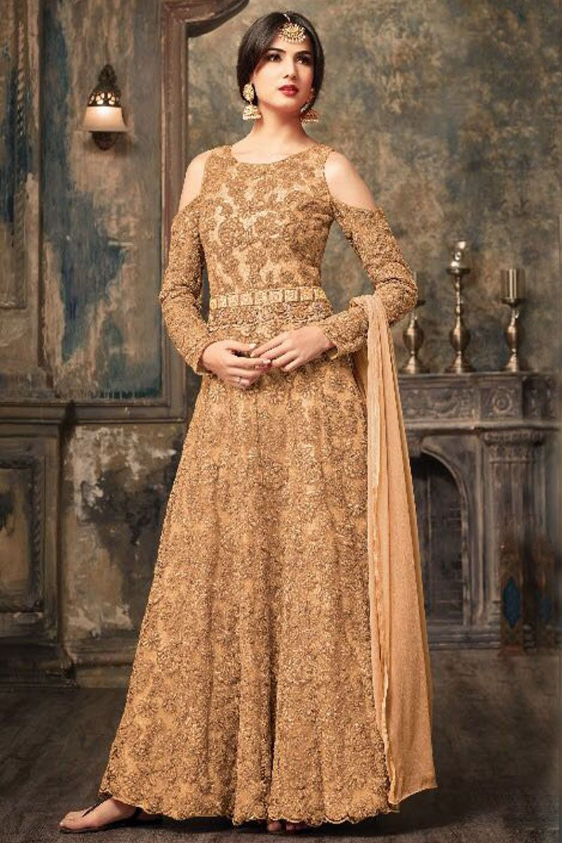 74c6e392c20 Attractive Gold Color Indian Bride Net Fabric Floral Embroidery Work ...