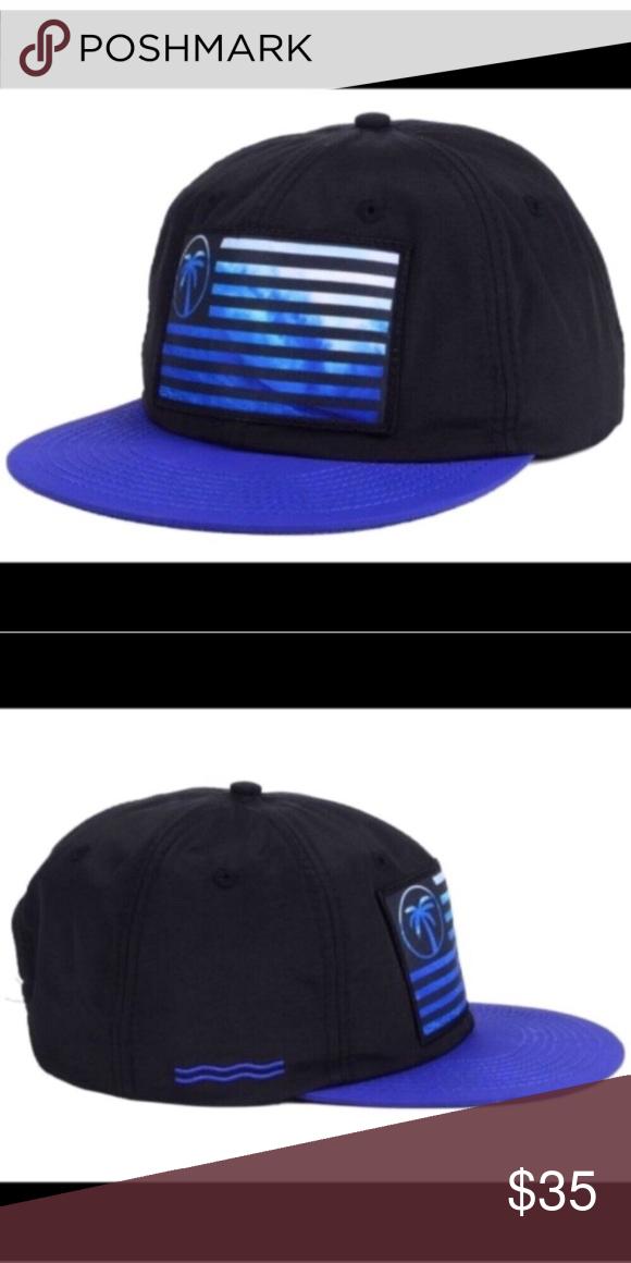 BLVD Express Flag Wave Snapback Hat Black//Blue NEW