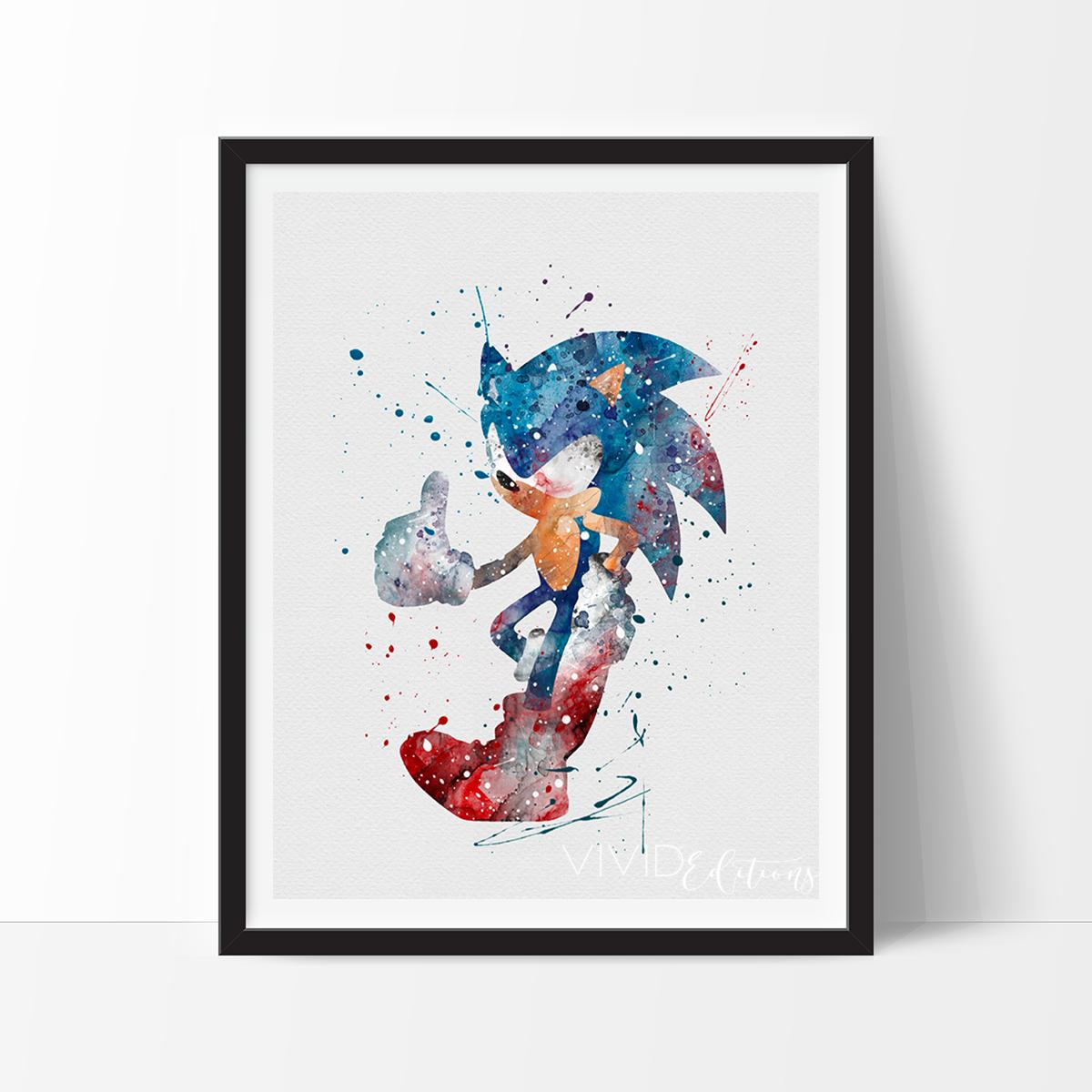 Sonic The Hedgehog Watercolor Art Print Dibujos Pinturas Acuarela