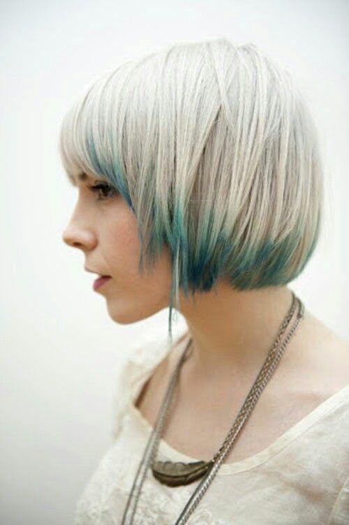 Blue Tipped Blonde Bob Hair Styles Short Hair Color Short Hair Styles