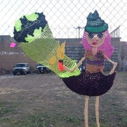 just one of London Kaye's fabulous yarnbombs.  check out more of her work on her website http://www.londonkaye.com