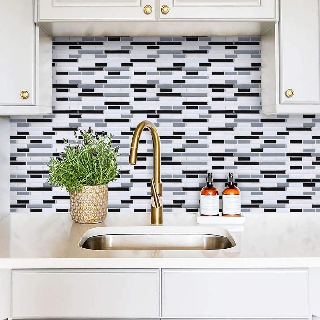 Peel And Stick Backsplash Tile For Kitchen Gray Small Subway Tile