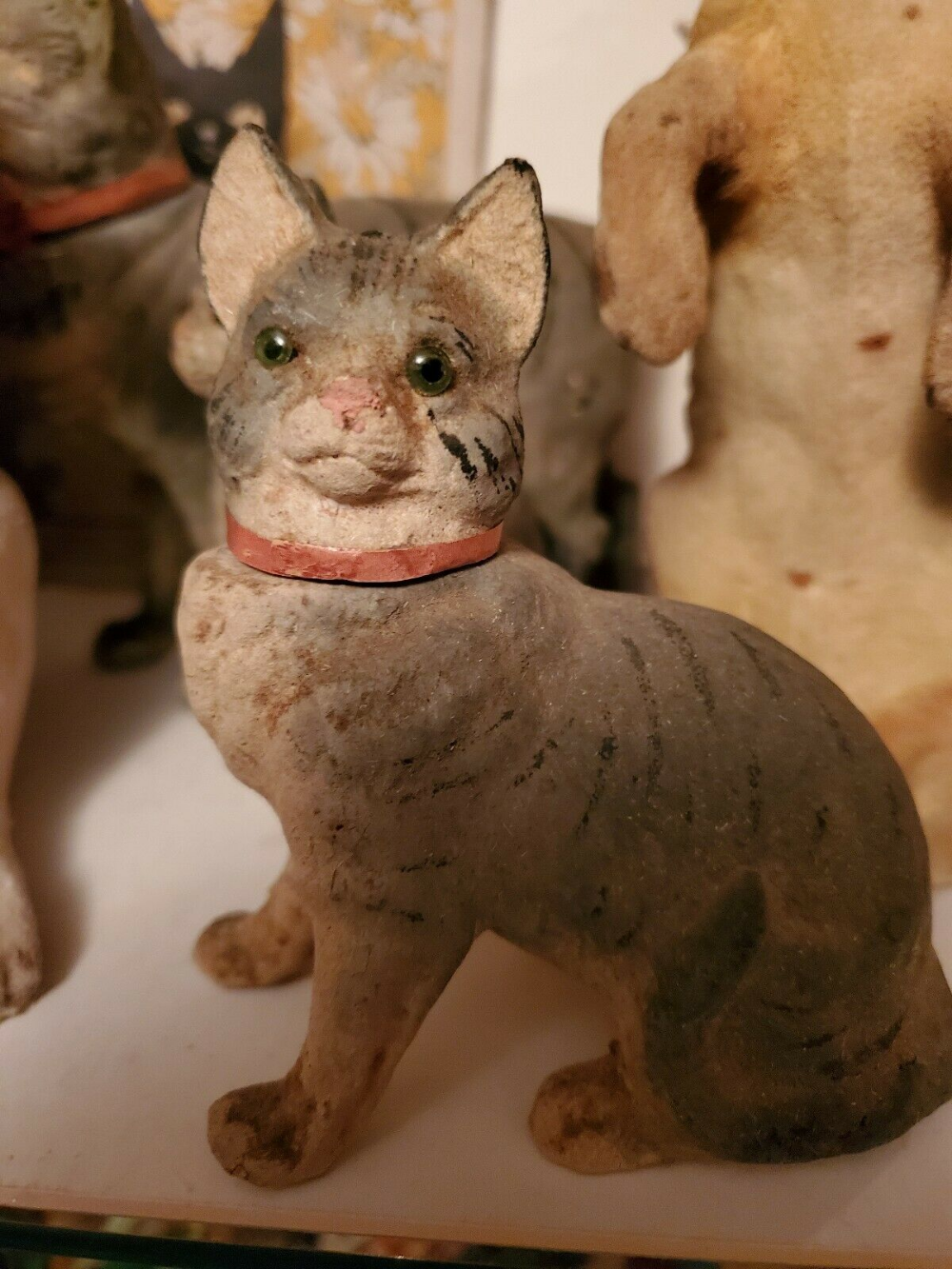 1900 S Antique German Cat Candy Container Tabby Cat Glass Eyes Flocked Compo Ebay Cat Toys Tabby Cat Cat Candy