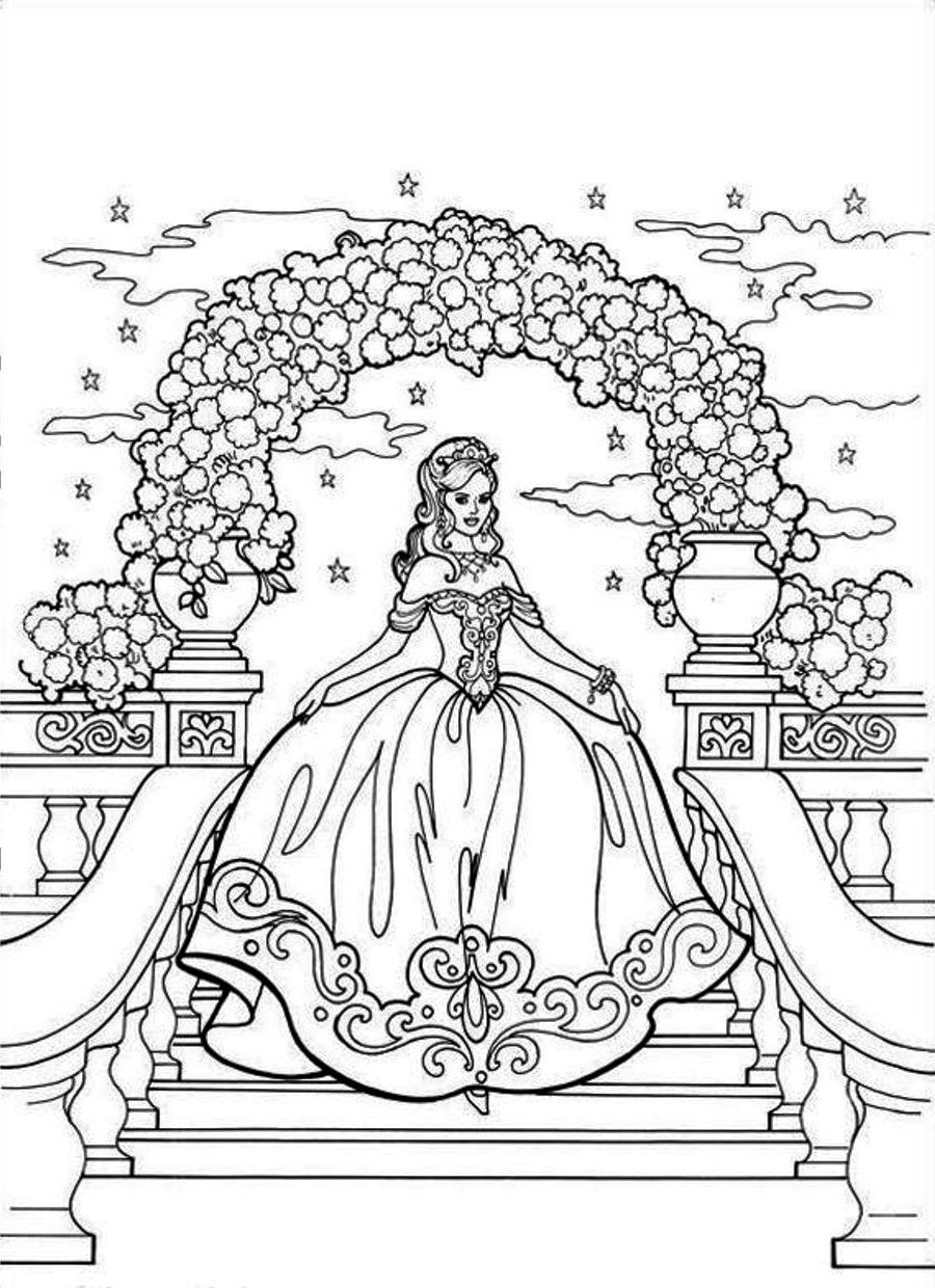 Beautiful Princess Steps Castle Stairs With Luxury Gown Kids ColoringFree ColoringAdult ColoringColoring BookColouringBarbie Coloring PagesDisney