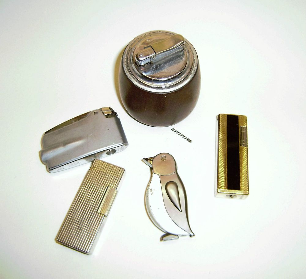 Vintage Collection of six lighters spare or repair table and pocket lighters .