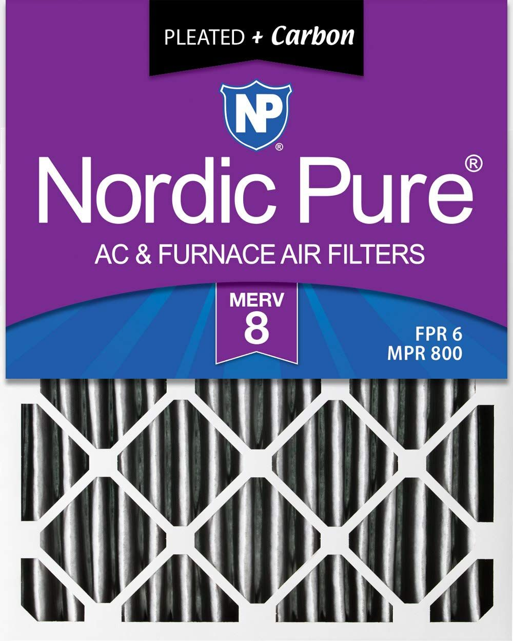 Nordic Pure 16x25x1 MERV 8 Pleated Plus Carbon AC Furnace