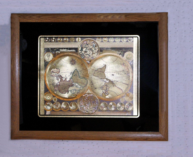 Vintage rare 24k gold foil world map after adam freidrich zurner vintage rare 24k gold foil world map after adam freidrich zurner peter schenk the elder gumiabroncs Images