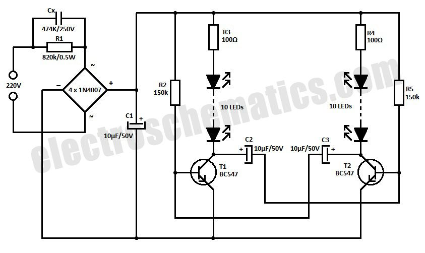 220v led blinker circuit schematic