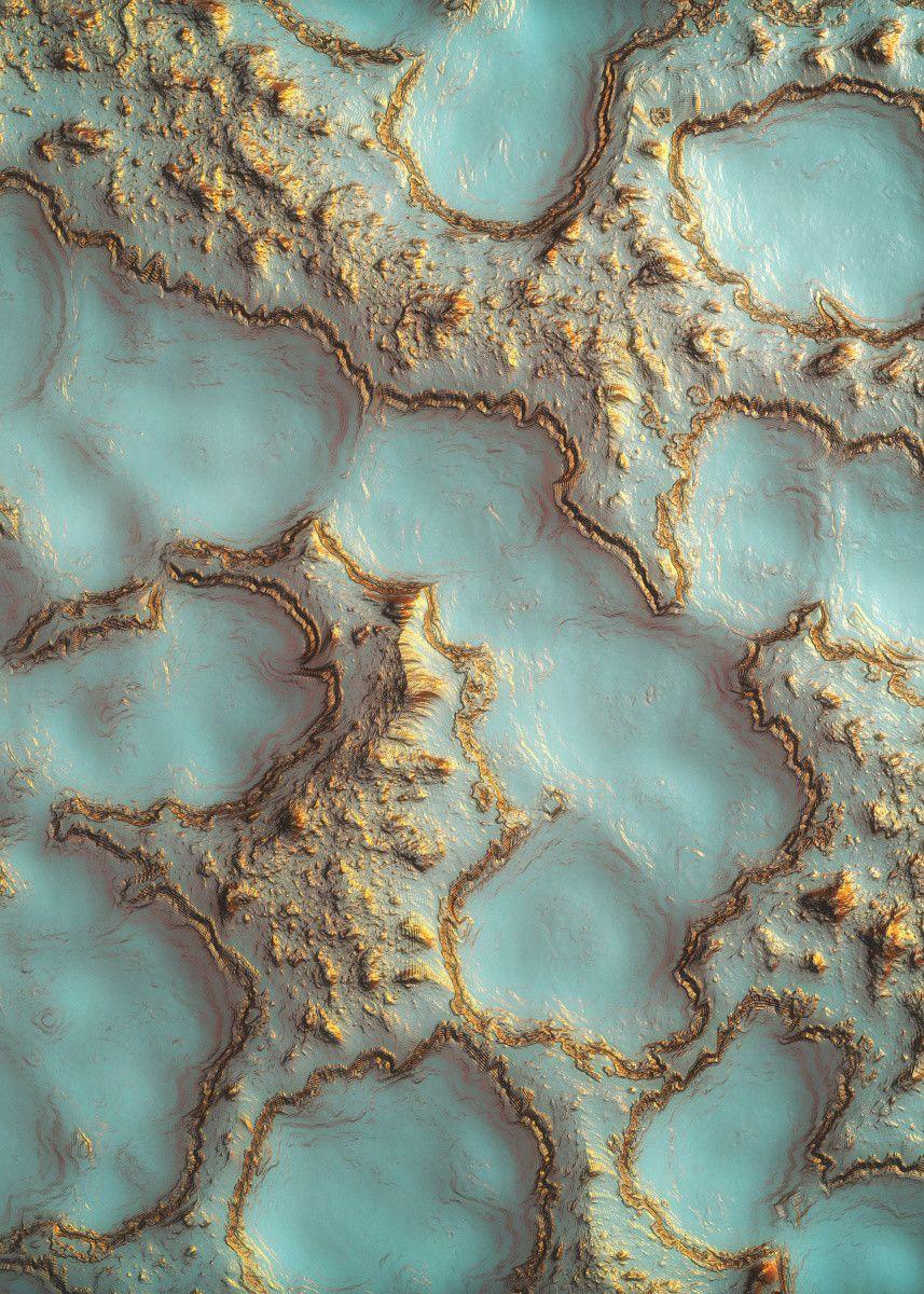 'Aqua Coral Reef Abstract' Metal Poster Print - Sp