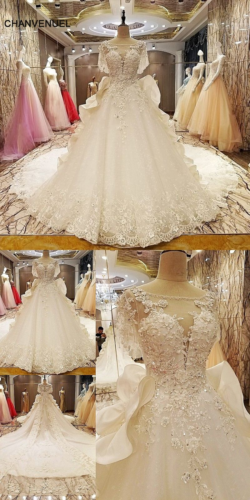 2cdd6630a3 LS67536 factory direct wedding dresses beading ball gown lace up back O  neck short sleeves robe