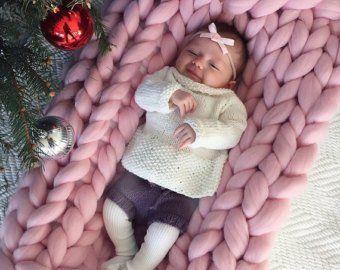 CHUNKY knit baby BLANKET. The finest 100% merino wool.   Etsy