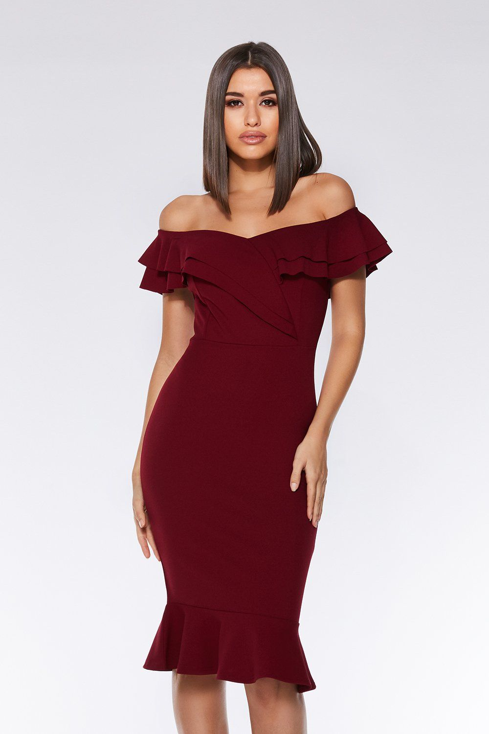 29c9fb028284 Berry Bardot Frill Midi Dress | Autumn/Winter Fashion | Dresses ...