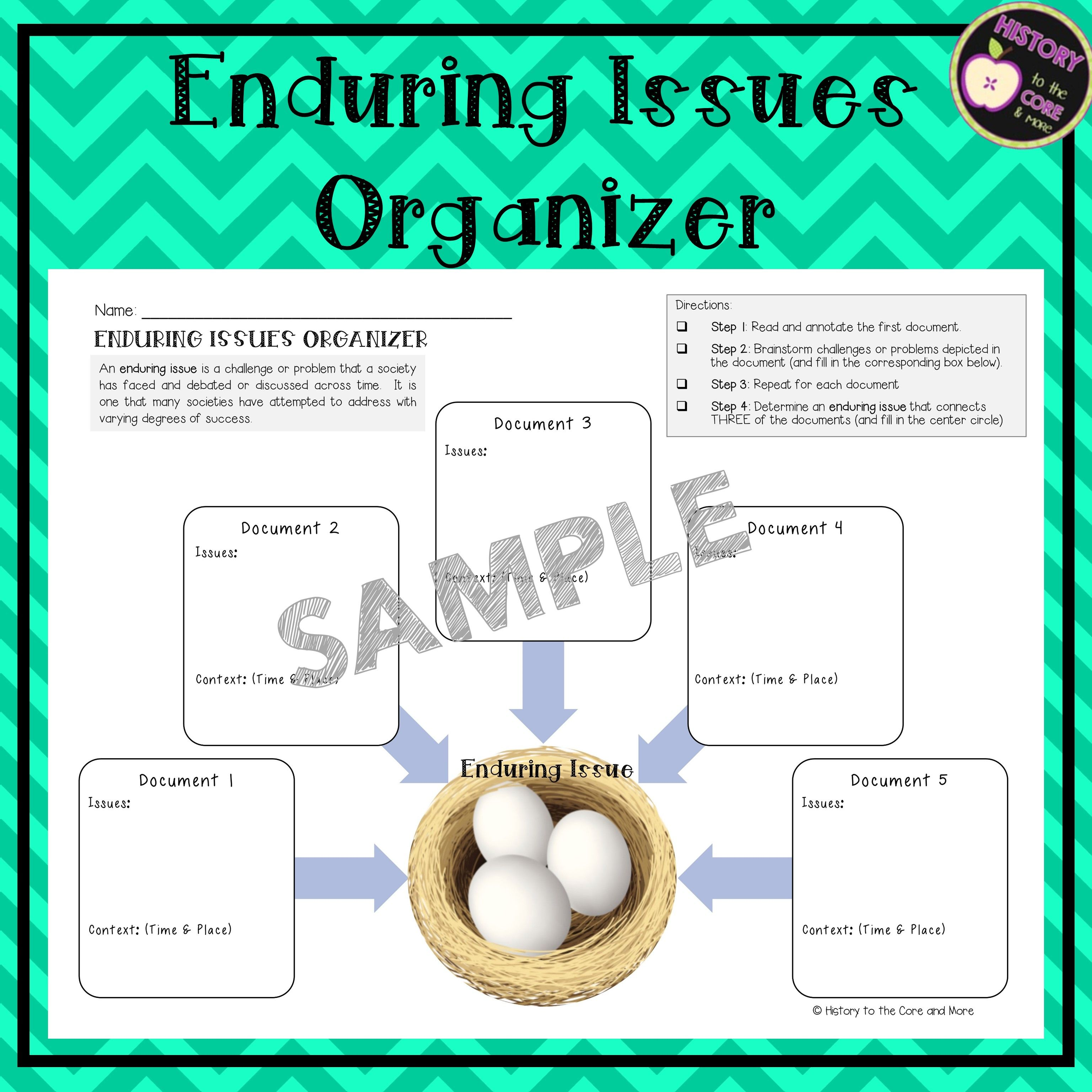 Enduring Issues Essay Graphic Organizer Graphic Organizers Teaching History Essay