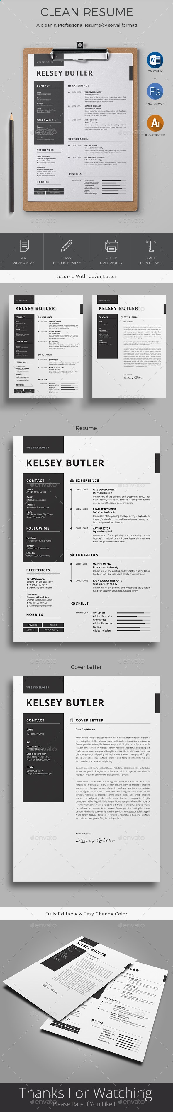 Resume Template PSD, AI, MS Word | Mind | Pinterest