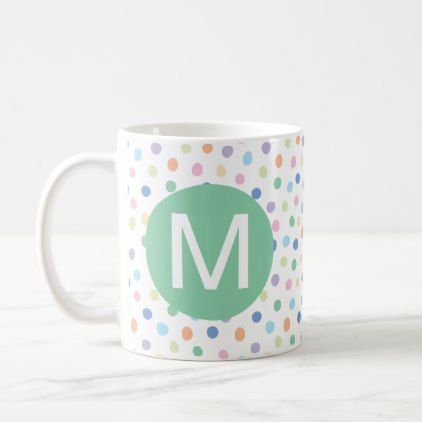 Rainbow Dots Green Monogram Initial Letter Mug - birthday gifts - celebration letter