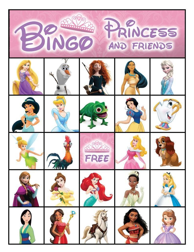 Princess Printable Bingo Cards 8.5 x 11 10   Etsy in 2020 ...