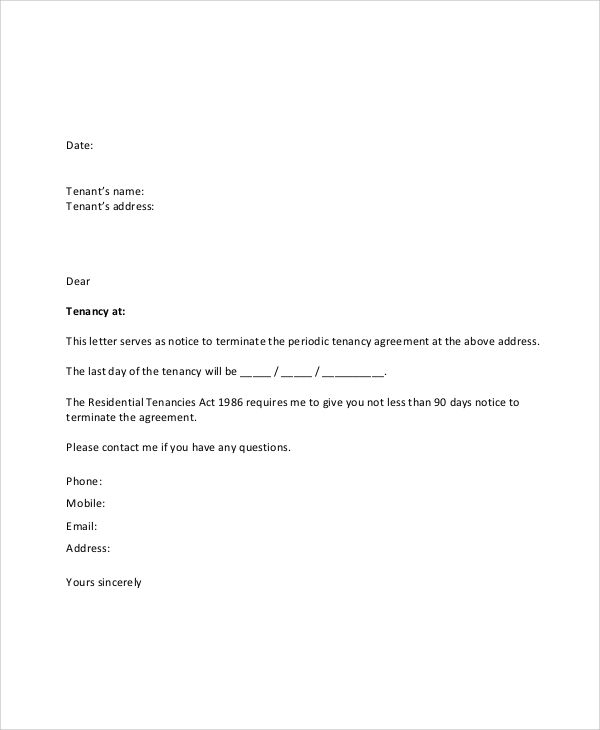sample lease termination letter documents pdf word agreement rental