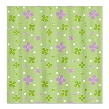 Shamrock Shower Curtain Seamless Floral Pattern Lucky Green And