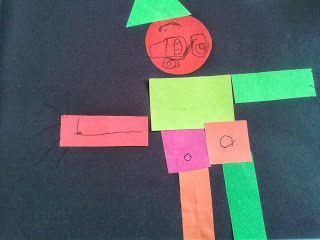 Cuerpo humano con figuras geométricas de colores Edad: 3 años
