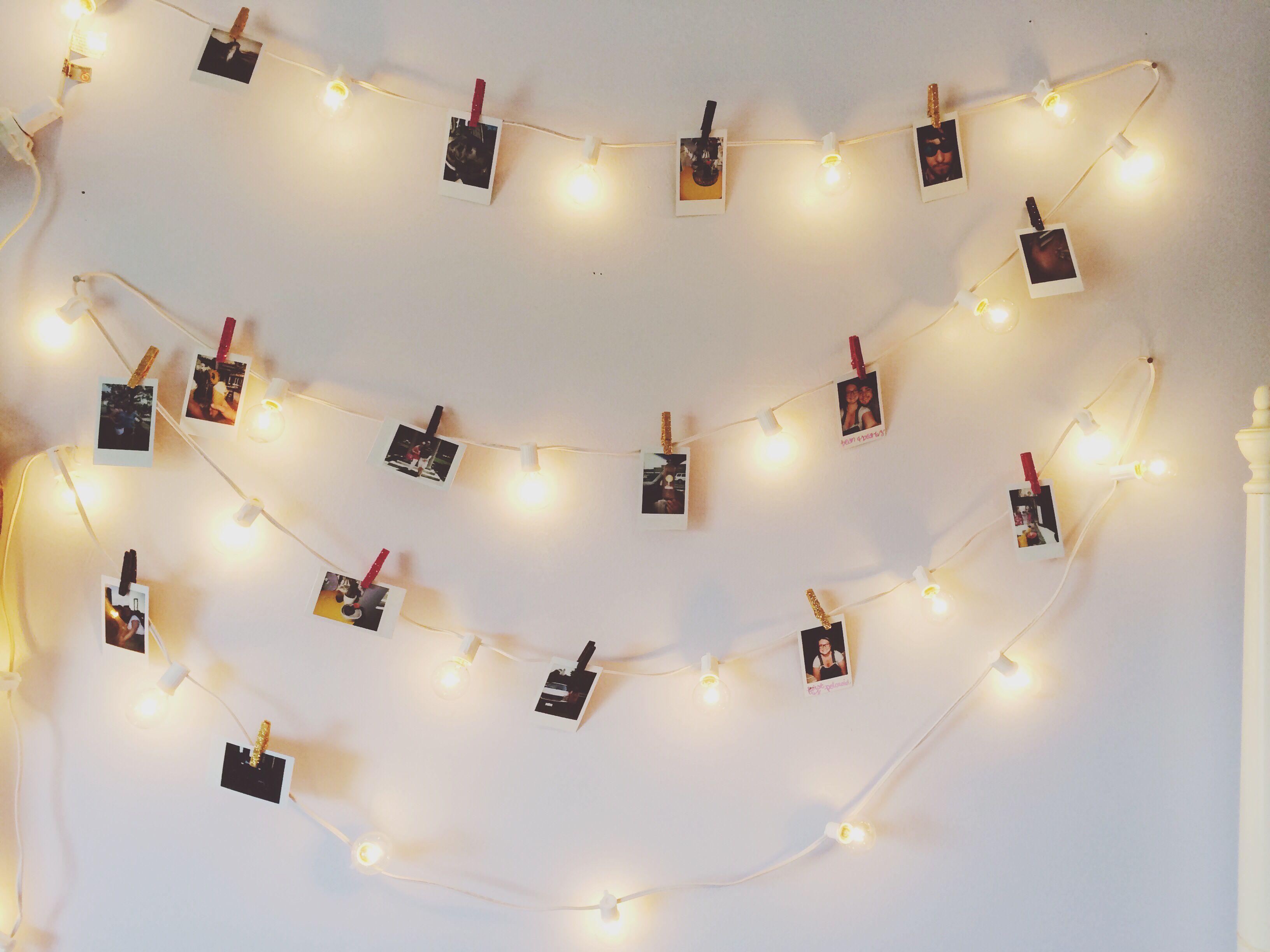 Polaroid Pictures With Lights With Mini Clothespins Diy Polaroid Stringlights Intax Ideias Quartos Ideias Para Quarto