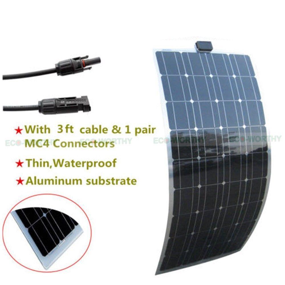 Semi Flexible Solar Panel 100w 50w 40w Solar Module Power Charge Camping Caravan Ecoworthy Flexible Solar Panels Solar Module Solar Installation