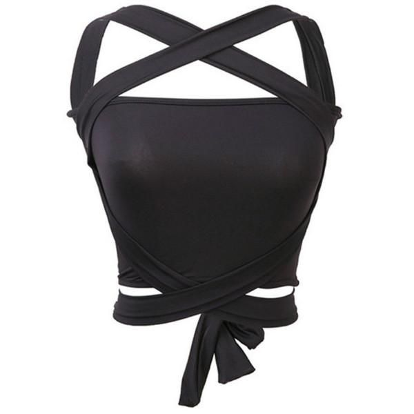 f3a20349c6 Tube Top Women Sexy Bustier Bralette Strappy Corset Cut Out Tank Blouse  Halter cropped off shoulder bandage crop top W1