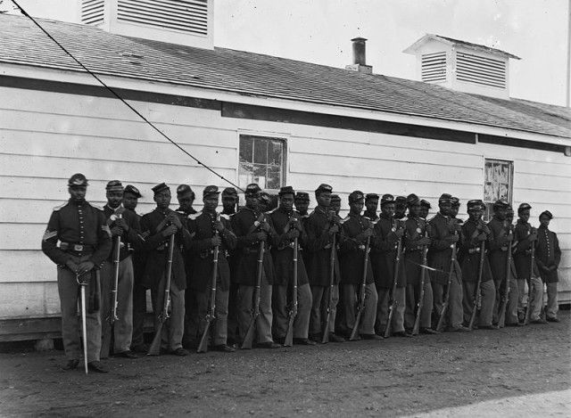 This was taken on November 17, 1865, depicting Company E, 4th US Colored Troops at Fort Lincoln, North Dakota