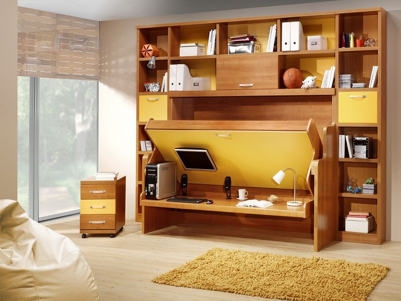 Yellow Murphy Bed Desk Combination Love The Color Combo And Concept Not 100