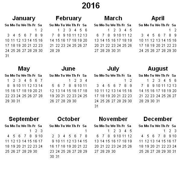 2016 Year Calendar Template | Calendar Template | Pinterest