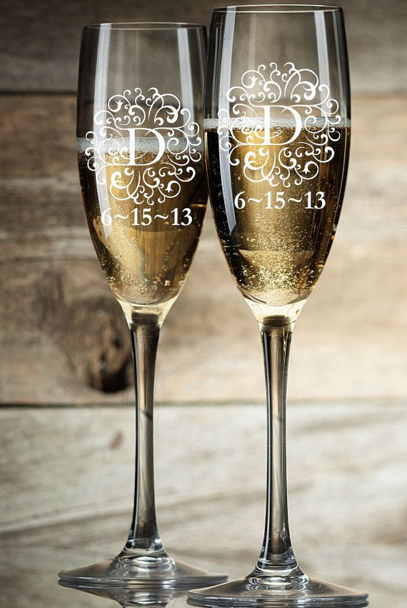 Personalized Champagne Glasses Champagne Flutes Bride And