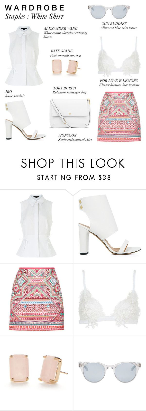 """""""Wardrobe Staples : White Shirt '16"""" by rachaelselina ❤ liked on Polyvore featuring Alexander Wang, IRO, Accessorize, For Love & Lemons, Kate Spade, Sun Buddies and Tory Burch"""