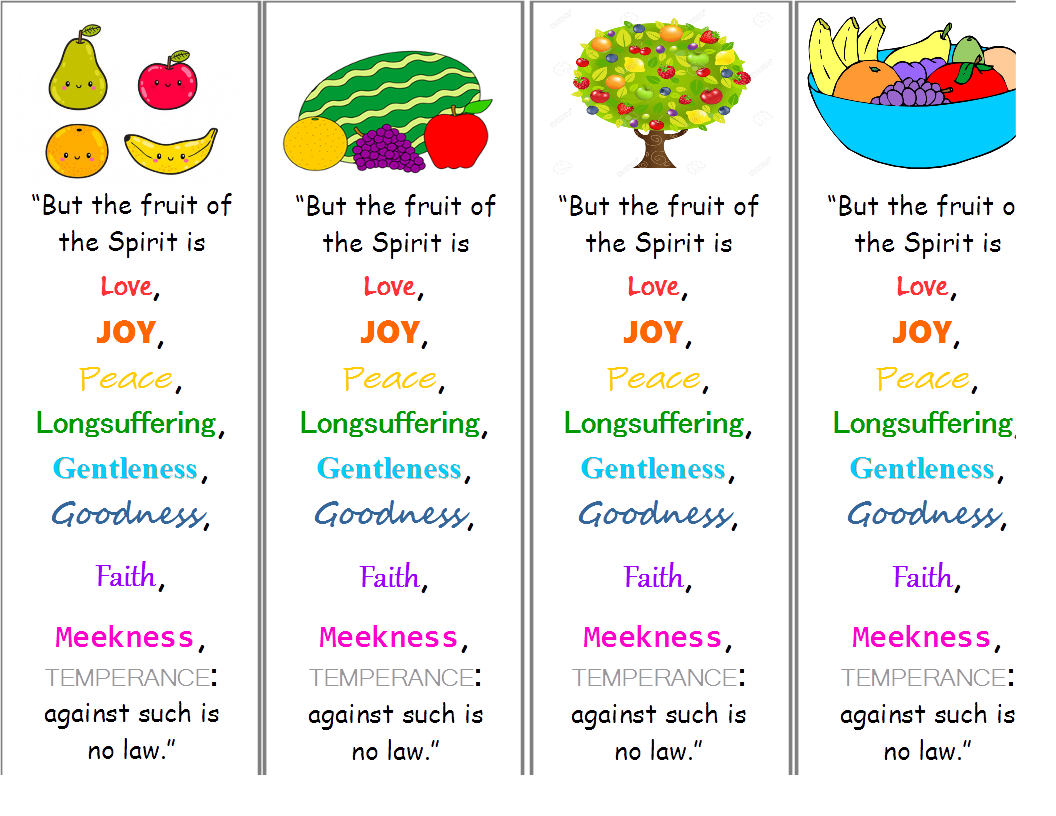 picture about Printable Fruit of the Spirit titled Printable KJV Fruit of the Spirit Bookmark bible Bible
