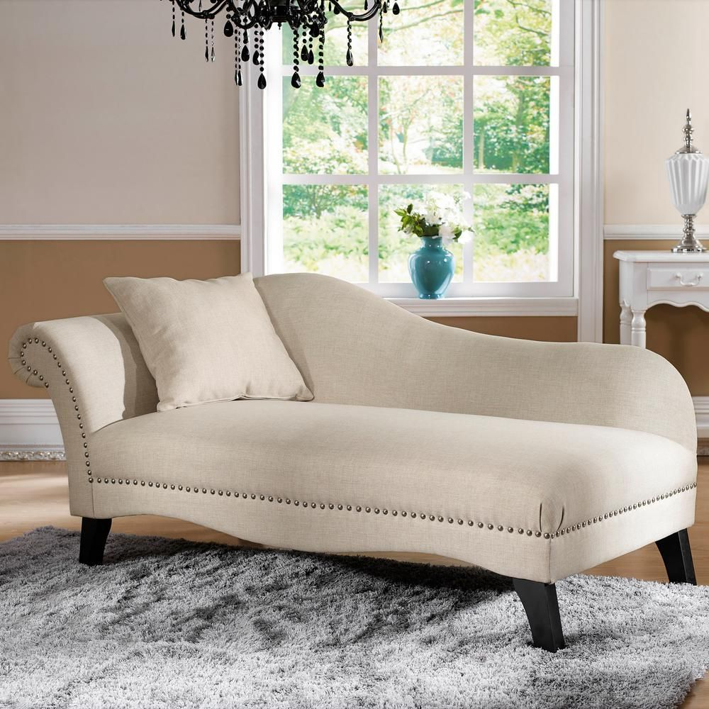 Baxton Studio Phoebe Traditional Beige Fabric Upholstered Chaise 28862 4362 Hd The Home Depot Modern Chaise Lounge Chaise Lounge Storage Chaise