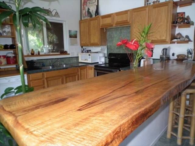 Mango Slab With Wild Edge For Counter Top Adjoining Kitchen