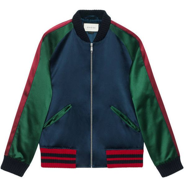 0b9df686 Gucci Silk Bomber With Panther ($2,520) ❤ liked on Polyvore featuring men's  fashion, men's clothing, men's outerwear, men's jackets, jackets,  outerwear, ...