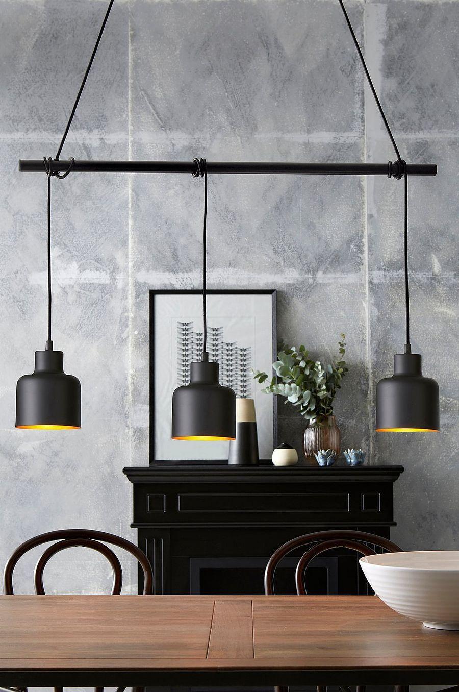 Textilkabel Le pendyl med 3 lor i svart textilkabel justerbar höjd med sladdar