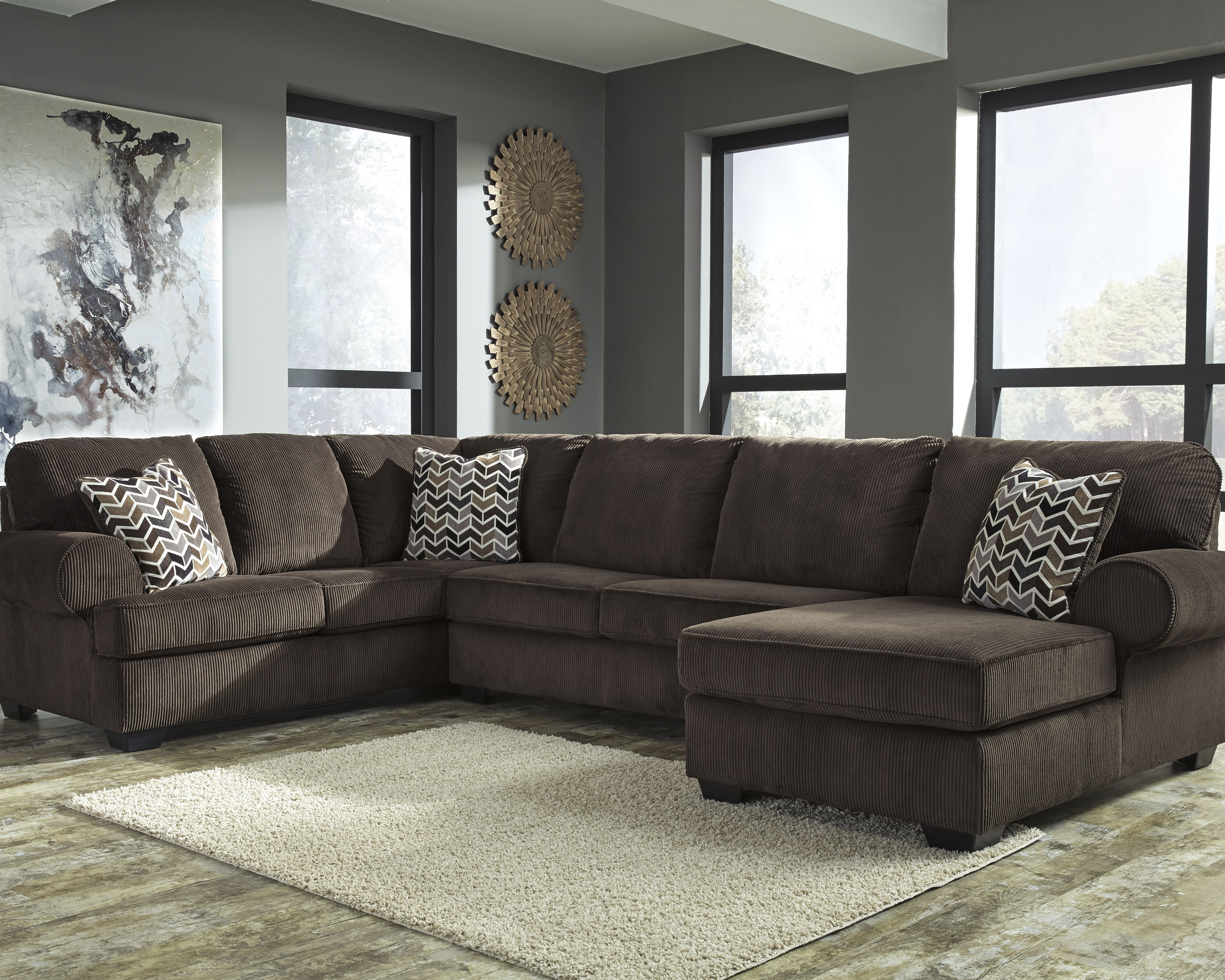 Jinllingsly 3 Piece Sectional Chocolate 3 Piece Sectional