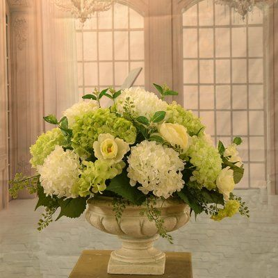 White and green hydrangea large silk flower arrangement ar350 make white and green hydrangea large silk flower arrangement ar350 make a simple yet elegant statement with this beautiful white and green hydrangea a mightylinksfo