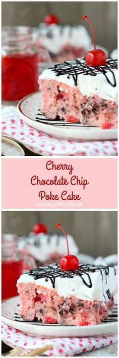 This Cherry Chocolate Chip Poke Cake is a sweet cherry cake with chocolate chips, soaked in sweetened condensed milk and topped with whipped cream and chocolate sauce. #cinnamonrollpokecake