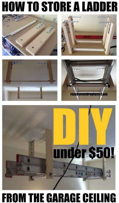 How To Store A Ladder On The Garage Ceiling Like A Pro! Could Use This For  Wood Storage Too